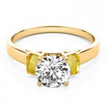 Trio Emerald Cut Yellow Sapphire Engagement Ring 18k Yellow Gold (0.30ct)
