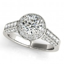 Round Diamond Halo Engagement Ring 18K White Gold (1.15ct)