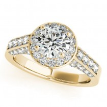 Round Diamond Halo Engagement Ring 18K Yellow Gold (1.15ct)