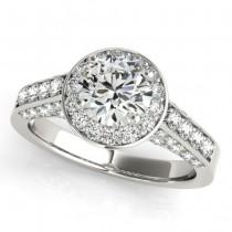 Round Diamond Halo Engagement Ring Palladium (1.15ct)