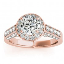 Diamond Halo Engagement Ring 14K Rose Gold 0.65ct