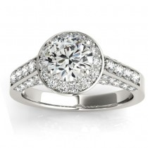 Diamond Accented Halo Engagement Ring Setting 18K White Gold (0.65ct)