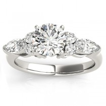 Diamond Marquise Accented Engagement Ring 14k White Gold 0.66ct
