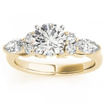 Diamond Marquise Accented Engagement Ring 18k Yellow Gold 0.66ct