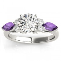 Amethyst Marquise Accented Engagement Ring 14k White Gold .66ct