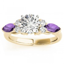 Amethyst Marquise Accented Engagement Ring 14k Yellow Gold .66ct