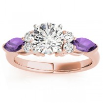 Amethyst Marquise Accented Engagement Ring 18k Rose Gold .66ct