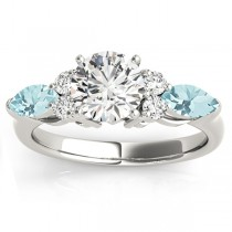 Aquamarine Marquise Accented Engagement Ring 14k White Gold .66ct