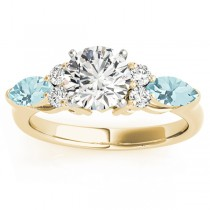 Aquamarine Marquise Accented Engagement Ring 14k Yellow Gold .66ct