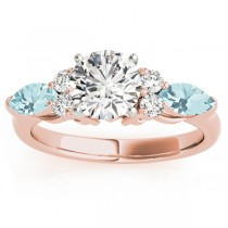 Aquamarine Marquise Accented Engagement Ring 18k Rose Gold .66ct