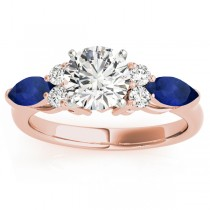 Blue Sapphire Marquise Accented Engagement Ring 18k Rose Gold .66ct