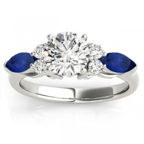 Blue Sapphire Marquise Accented Engagement Ring 18k White Gold .66ct