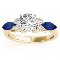 Blue Sapphire Marquise Accented Engagement Ring 18k Yellow Gold .66ct