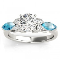 Blue Topaz Marquise Accented Engagement Ring 14k White Gold .66ct
