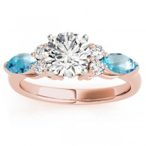 Blue Topaz Marquise Accented Engagement Ring 18k Rose Gold .66ct