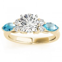 Blue Topaz Marquise Accented Engagement Ring 18k Yellow Gold .66ct