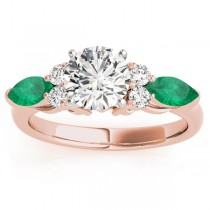 Emerald Marquise Accented Engagement Ring 18k Rose Gold .66ct