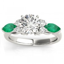 Emerald Marquise Accented Engagement Ring 18k White Gold .66ct