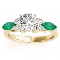 Emerald Marquise Accented Engagement Ring 18k Yellow Gold .66ct