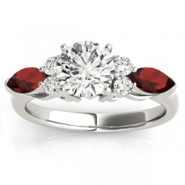 Garnet Marquise Accented Engagement Ring 14k White Gold .66ct