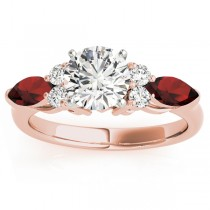 Garnet Marquise Accented Engagement Ring 18k Rose Gold .66ct