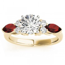 Garnet Marquise Accented Engagement Ring 18k Yellow Gold .66ct