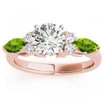 Peridot Marquise Accented Engagement Ring 18k Rose Gold .66ct