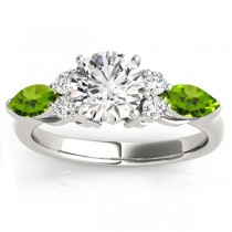 Peridot Marquise Accented Engagement Ring 18k White Gold .66ct