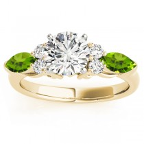 Peridot Marquise Accented Engagement Ring 18k Yellow Gold .66ct