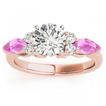 Pink Sapphire Marquise Accented Engagement Ring 14k Rose Gold .66ct