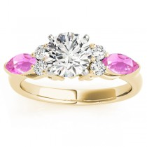 Pink Sapphire Marquise Accented Engagement Ring 14k Yellow Gold .66ct