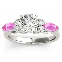 Pink Sapphire Marquise Accented Engagement Ring 18k White Gold .66ct