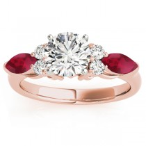 Ruby Marquise Accented Engagement Ring 18k Rose Gold .66ct
