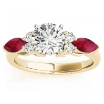 Ruby Marquise Accented Engagement Ring 18k Yellow Gold .66ct