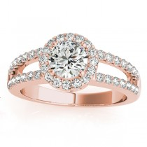 Split Shank Halo Diamond Engagement Ring Setting 18k Rose Gold 0.60ct