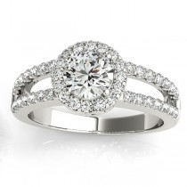 Split Shank Halo Diamond Engagement Ring Setting 18k White Gold 0.60ct