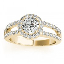 Split Shank Halo Diamond Engagement Ring Setting 18k Yellow Gold .60ct