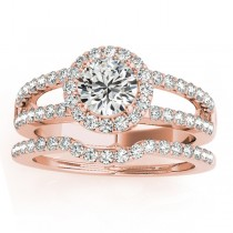 Diamond Split Shank & Curved Band Bridal Set 14k Rose Gold 0.95ct