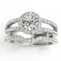 Diamond Split Shank & Curved Band Bridal Set 14k White Gold 0.95ct