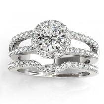 Diamond Split Shank & Curved Band Bridal Set 18k White Gold 0.95ct