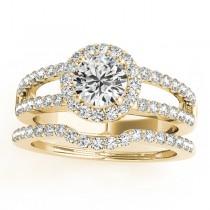 Diamond Split Shank & Curved Band Bridal Set 18k Yellow Gold 0.95ct