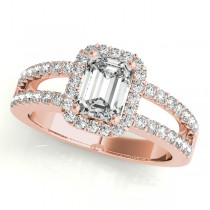 Emerald Cut Diamond Engagement Ring, Split Shank 14k Rose Gold 1.52ct