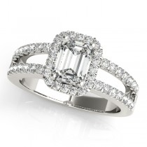 Emerald Cut Diamond Engagement Ring, Split Shank 14k White Gold 1.52ct