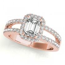 Emerald Cut Diamond Engagement Ring, Split Shank 18k Rose Gold 1.52ct