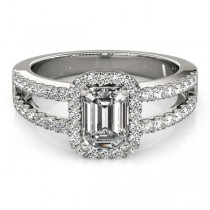 Emerald Cut Diamond Engagement Ring, Split Shank Platinum 1.52ct