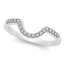 Semi Eternity Contour Diamond Wedding Band 14k White Gold 0.17ct