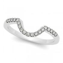 Semi Eternity Contour Diamond Wedding Band 14k White Gold 0.17ct