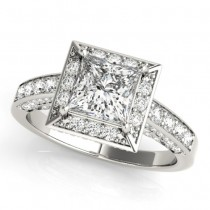 Princess Cut Diamond Halo Engagement Ring 14K White Gold (2.19ct)