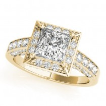 Princess Cut Diamond Accented Halo Engagement Ring 18K Yellow Gold (2.19ct)