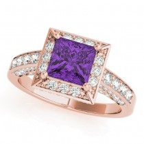 Princess Cut Amethyst & Diamond Halo Engagement Ring 14K Rose Gold (0.52ct)